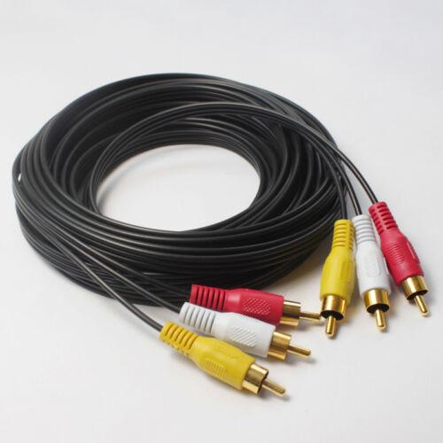 25FT Gold 3 Core Triple RCA Phono Audio Composite Video Cable Lead Wire Cord M-M