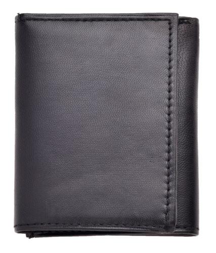 Da Uomo Genuino Reale Morbido Nappa Tri-fold Portafoglio-Nero