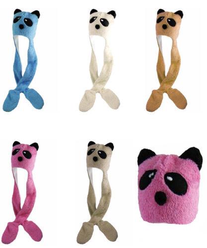 Kids Girls Boys Children Panda Face Scarf Hat Hoody Mitten Pockets Warm Set
