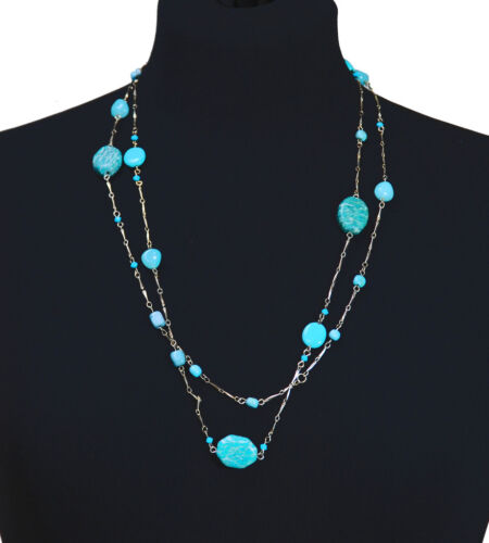 MULTIPLY BLUE MARBLED STONED BEADED NECKLACE W CLASPED GOLD CHAIN ZX52