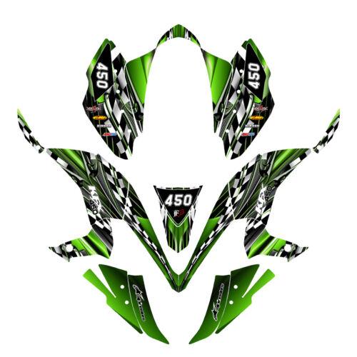 KFX 450R graphics decal kit for Kawasaki Quad #2500 Green FREE custom service