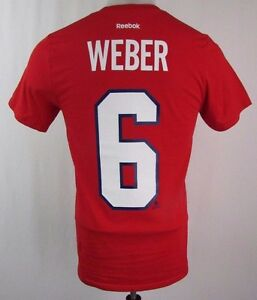 Montreal-Canadiens-Men-039-s-6-039-Weber-034-Short-Sleeve-T-Shirt-NHL-Reebok-Red