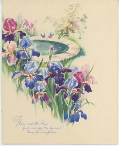 VINTAGE-GARDEN-FLOWERS-BLUE-PURPLE-IRIS-BIRD-PRINT-1-DUCKS-INN-POND-AUTUMN-CARD
