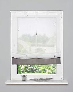 Raffrollo mit Schlaufen transparent weiß stein Breite: 80cm , 100cm ...