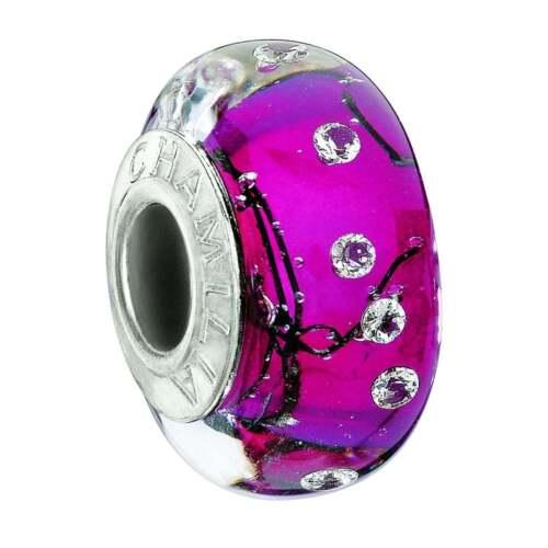 Chamilia Silver Murano bead City lights Fuchsia Steel