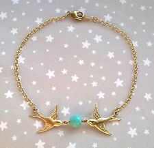 Vintage Style Swallow Bird & Gemstone Turquoise Bead Bracelet - Boho Gold Brass