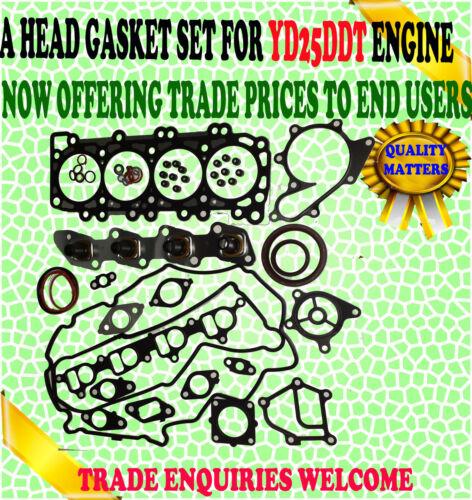 FITS NISSAN NAVARA PICK UP 2.5 TD YD25DDT D22 2001-2008 ENGINE HEAD GASKET SET