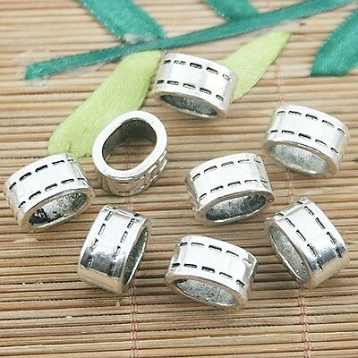 5pcs tibetan silver color 2sided oval shaped  spacer beads H0582