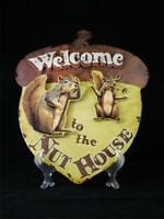 Welcome To Nut House Squirrel Acorn Shape Metal Wall Art 3d Sign Made In Usa