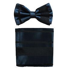 New formal men's pre tied Bow tie & Pocket Square Hankie stripes navy blue prom