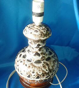 VINTAGE-RUSTIC-POTTERY-MOTTLED-EFFECT-CERAMIC-LAMP-60-039-S-70-039-S-Very-RARE