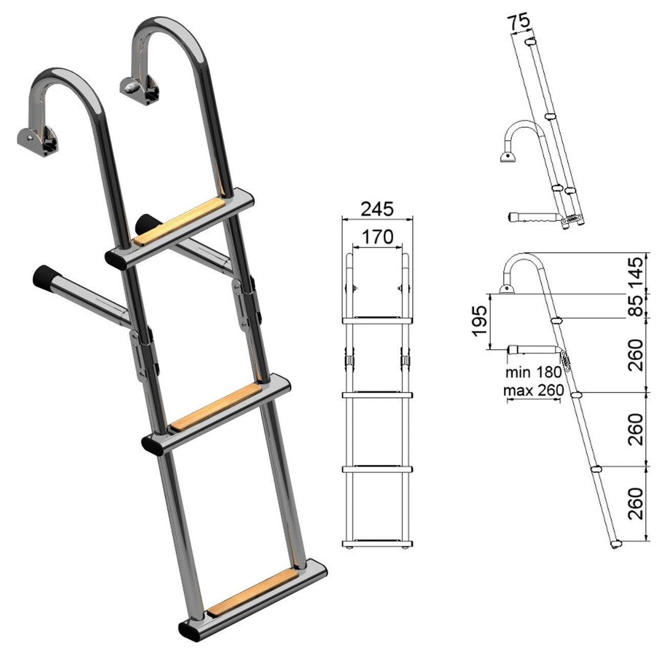 Nautinox Edelstahl Badeleiter mit mit mit Iroko Stufen ,versch. Varianten, Stiefel-Leiter c23e7d