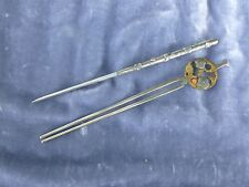 2 ANTIQUE CHINESE SILVER AND MIXED METAL HAIR PINS