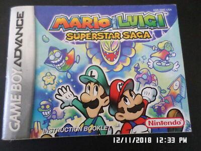 Mario Luigi Superstar Saga Gameboy Advance Gba Manual Only
