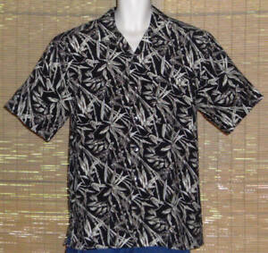 Paradise By Axis Hawaiian Shirt Black Brown Tan Bamboo Leaves Size Medium