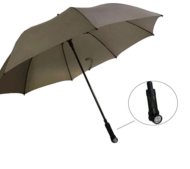 BLACK LED TORCH UMBRELLA Stick Large 120cm Canopy Weatherproof security