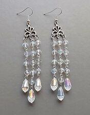 Clear glass crystal long earrings . aurora AB tassel chandelier glam big jewelry