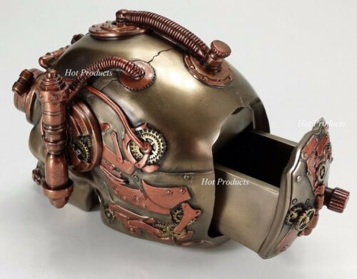 HIDDEN TRINKET BOX STEAMPUNK INDUSTRIAL AGE Human Skull Statue Bronze Color