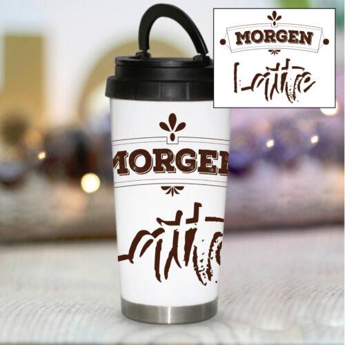 """Thermobecher /""""Morgen Latte/"""" Konisch KTB1004 Lustig Spruch Geschenk Kaffee Tee"""