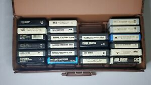 Lot-Of-24-8-Track-Tapes-With-Vtg-Brown-Faux-Leather-Case-Feat-Top-Artists