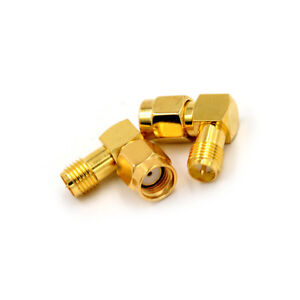 2Pcs-RP-SMA-Male-To-RP-SMA-Female-Male-Pin-Right-Angle-RF-Connector-Adapter-DM