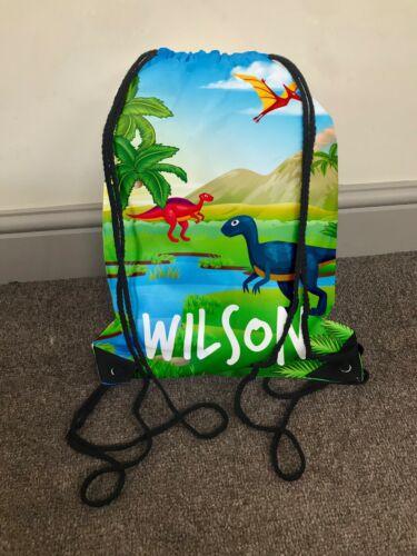 Personnalisé Enfants Dinosaure 1 avec cordon de serrage sac de gym tout nom back to school