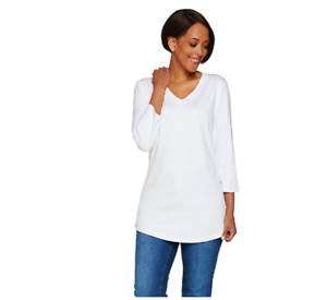 Isaac-Mizrahi-Live-Essentials-3-4-Sleeve-V-Neck-Knit-Top-Bright-White-Large