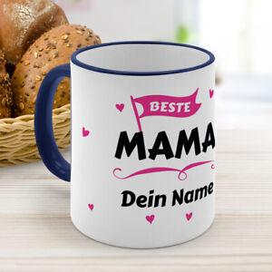 Kaffeebecher Color Dunkelblau mit Namen personalisiert - Beste Mama