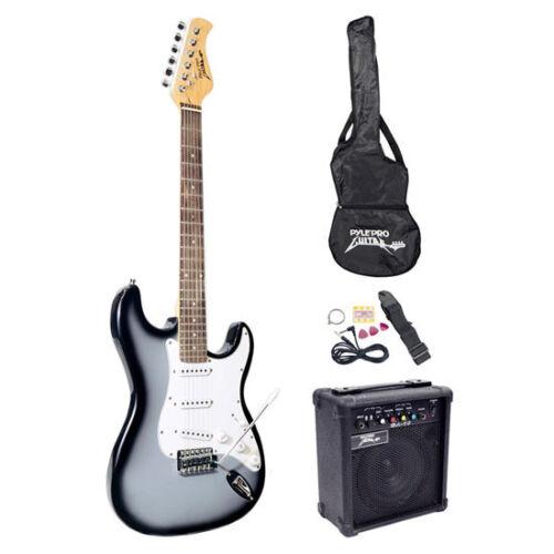 Pyle PEGKT15GS Beginner Electric Guitar Package Grey Silver