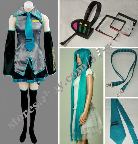 HEADPHONE WIG Hot Sale!Vocaloid Hatsune Miku Cosplay Costume full SET