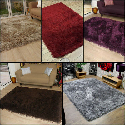 Very Thick 9cm Soft Touch Shaggy Rug In Grey Brown Red Caramel Cream
