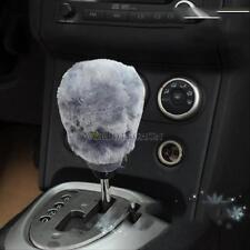 Winter Warm Car Soft Plush 2-pieces-set Hand Brake + Gear Shift Cover Set Gray