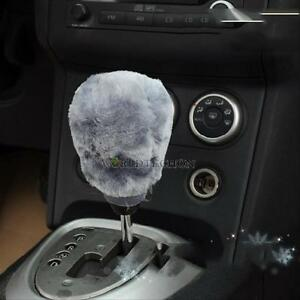 Winter-Warm-Car-Soft-Plush-2-pieces-set-Hand-Brake-Gear-Shift-Cover-Set-Gray