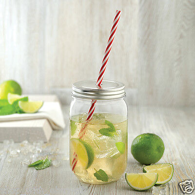 600ml Mason Jar & Straw Plastic Tumbler Smoothie Cocktail Party Mothers Day Gift