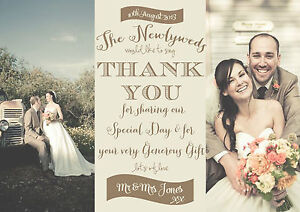 Image Is Loading Personalised Vintage Faded Photo Wedding Thank You Cards