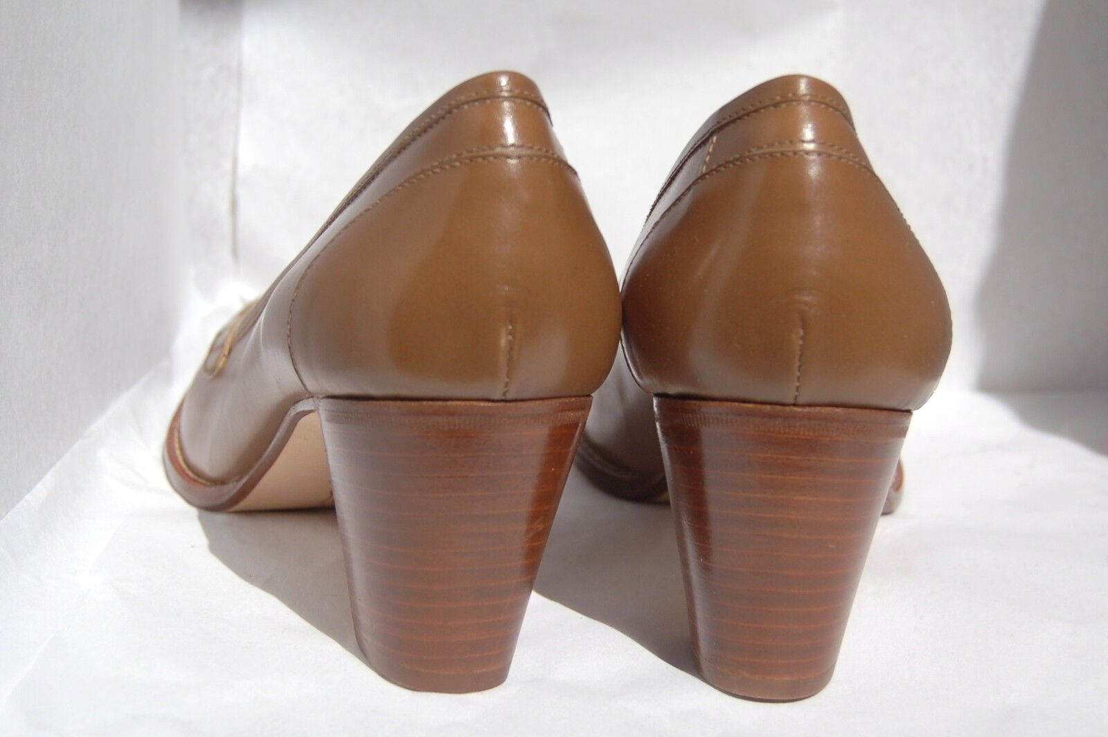 WOMAN - 40 - PENNY LOAFER - - SOFTY CALF TAUPE - - LEATHER SOLE - HEEL 7cm - LINING 87cfcc