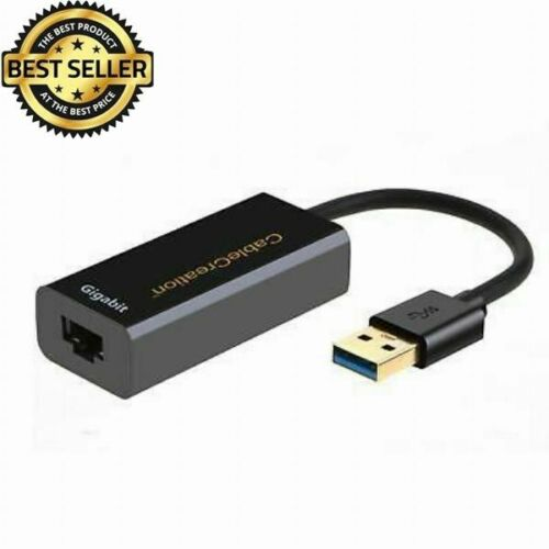 USB 3.0 Network Adapter USB to RJ45 Gigabit Ethernet Adapter Supporting Black