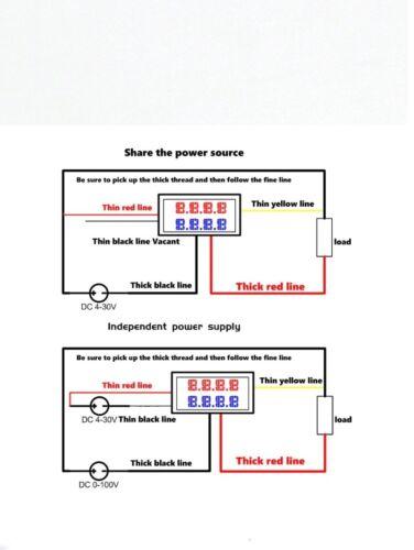 DC voltímetro amperímetro Azul 100V 10A LED rojo voltímetro digital doble amplificador calibre