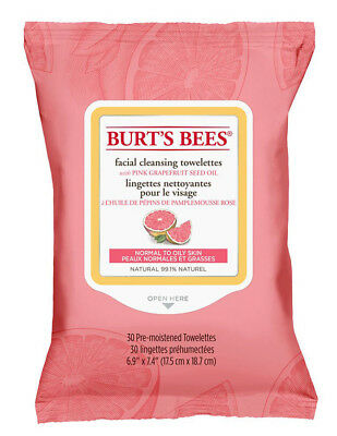 Burt's Bees Facial Cleansing Towelettes With Pink Grapefruit: 30 Cloths/Wipes