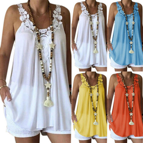 Womens Ruffle Frill Summer Sleeveless Vest Camisole Blouse Loose T-Shirt Tee Top