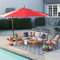 Umbrella Offset Patio 13 Foot Ft Outdoor Cover Canopy Rotating Tilt And Base