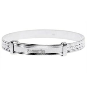 Personalised-Silver-Baby-Bangle-Birthday-Christening-Jewellery-Gift-925-Sterling