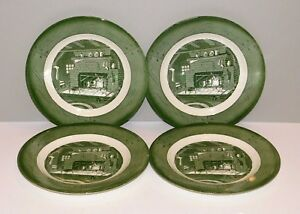 "2 Dinner Plates Colonial Homestead Green Royal 10/"""