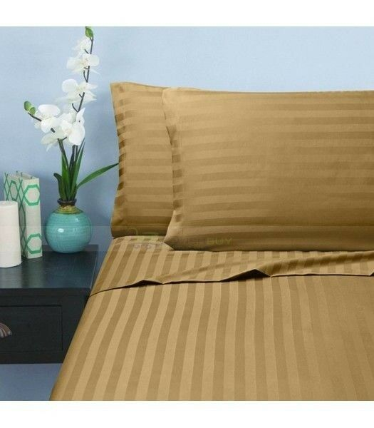 1 Fitted Sheet & 2 Pillow case Taupe Stripe 100% Pima Cotton 1000 TC_