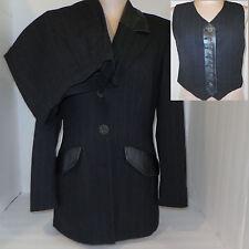 ALBERTO MAKALI Womens 3 Piece Pants Suit Blazer Jacket Vest Sz 8 Gray Pin Stripe