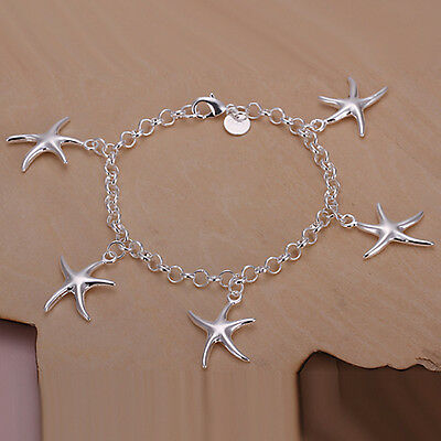 New Women 925 Sterling Silver Plated 5 Starfish Charm Chain Bracelet Bangle
