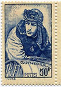 FRANCE-STAMP-TIMBRE-YVERT-461-034-AVIATEUR-GEORGES-GUYNEMER-50F-BLEU-034-NEUF-x-TB