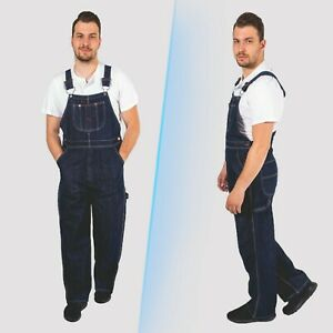 Mens-Denim-Dungarees-Work-Wear-Bib-and-Brace-Overall-Painters-Decorator-Coverall