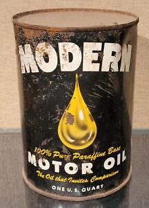 1940S MODERN 100% PARAFFIN BASE ONE QUART MOTOR OIL TIN CAN  PENINSULA OIL SALES