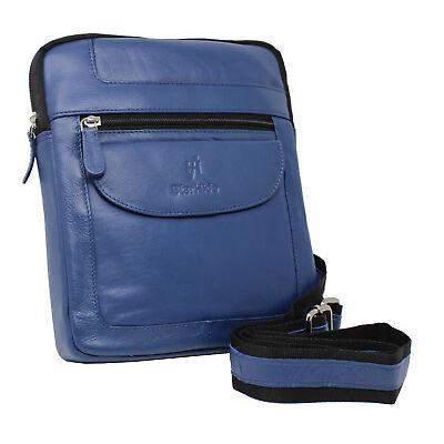 Starhide Unisex Real Leather Cross Body Travel Messenger Ipad bag 505 Navy Blue